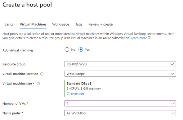 Deploy a Windows Virtual Desktop Host pool with the custom image