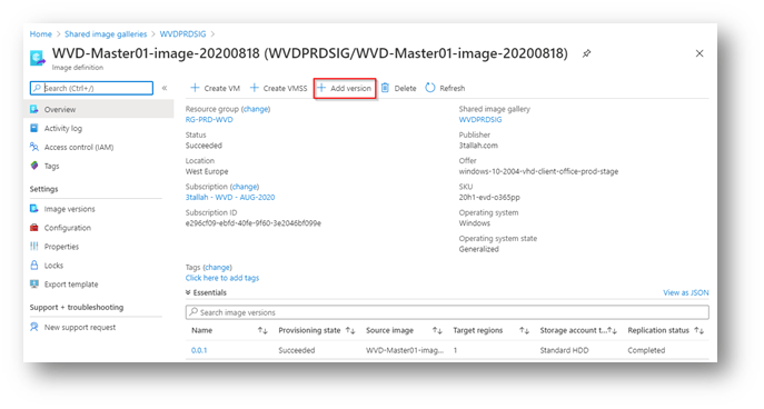 WVD Golden image Customization and updates using Shared Image Gallery